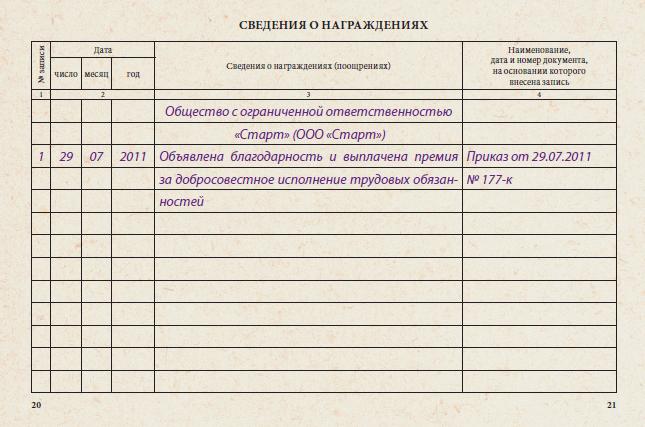 Внесение благодарности в трудовую книжку работника: правила и порядок фиксации благодарственных записей